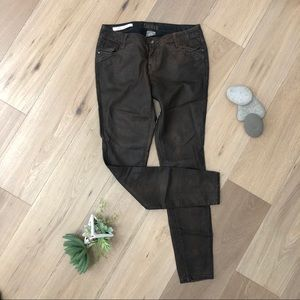 NWOT Brown faux leather skinny pants Fall
